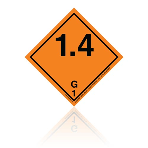 Class 1 Explosive 1.4G Hazard Warning Diamond Placard - Pack of 25