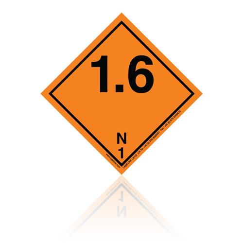 Class 1 Explosive 1.6N Hazard Warning Diamond Placard - Pack of 25