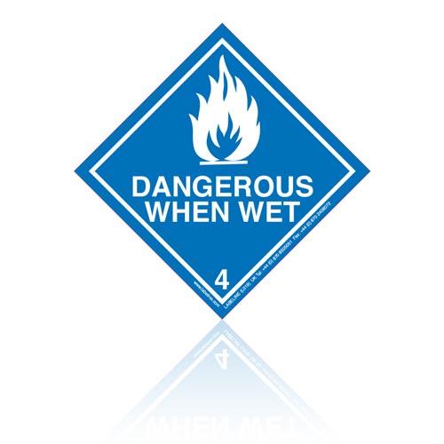 Class 4 Dangerous When Wet 4.3 Hazard Warning Diamond Placard - Pack of 25