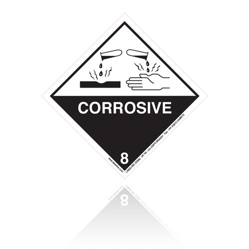 Class 8 Corrosive Hazard Warning Diamond Placard - Pack of 25
