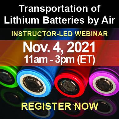 November 19, 2019 Webinar | Multimodal Transportation of Lithium Batteries