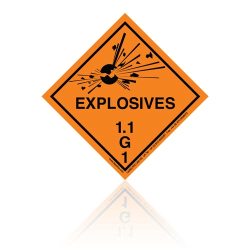 Class 1 Explosive 1.1G Hazard Warning Diamond Placard - Pack of 25