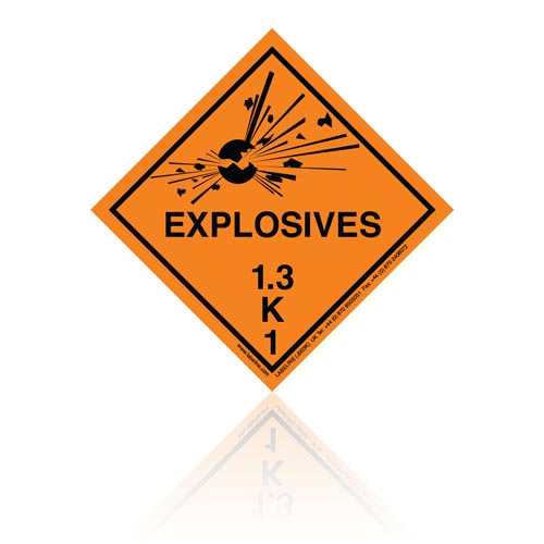 Class 1 Explosive 1.3K Hazard Warning Diamond Placard - Pack of 25