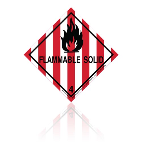 Class 4 Flammable Solid 4.1 Hazard Warning Diamond Placard - Pack of 25