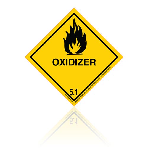 Class 5 Oxidizer 5.1 Hazard Warning Diamond Placard - Pack of 25