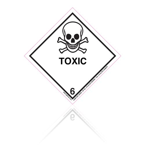 Class 6 Toxic 6.1 Hazard Warning Diamond Placard - Pack of 25