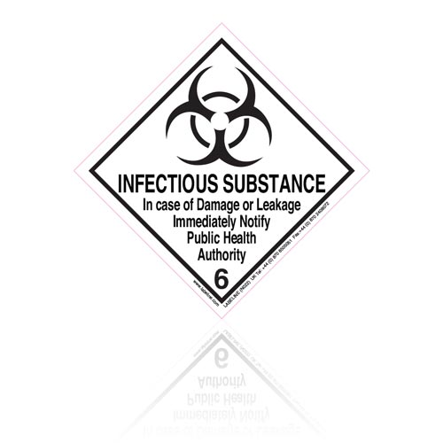 Class 6 Infectious Substance 6.2 Hazard Warning Diamond Placard - Pack of 25