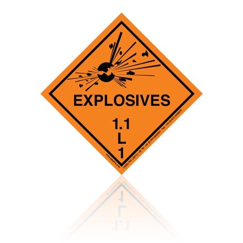 Class 1 Explosive 1.1L Hazard Warning Diamond Placard - Pack of 25