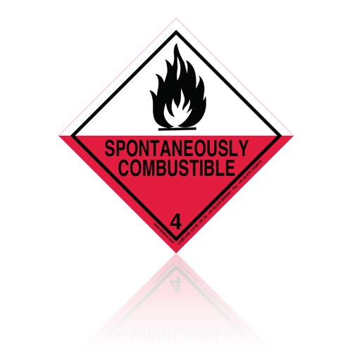 Class 4 Spontaneously Combustible 4.2 Hazard Warning Diamond Placard - Pack of 25