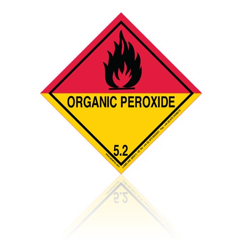 Class 5 Organic Peroxide 5.2 Hazard Warning Diamond Placard - Pack of 25