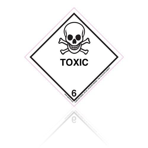 Class 6 Toxic 6.1 Hazard Warning Diamond Placard - Pack of 25