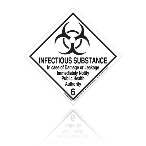 Class 6 Infectious Substance 6.2 Hazard Warning Diamond Placard - Pack of 25